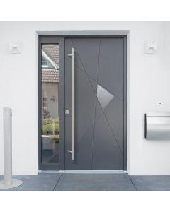 ELEGANZA+, LA PORTE TRÈS HAUTE PERFORMANCE; Succombez à l'esthétisme parfait de cette porte très haute performance en aluminium ! Avec son ouvrant monobloc de 80 mm et sa serrure 5 points, elle constitue un véritable rempart contre les tentatives d'effrac